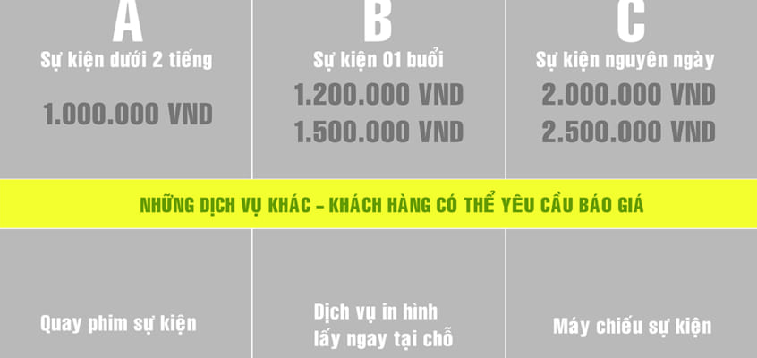 Bảng giá chụp hình sự kiện Thành phố Hồ Chí Minh (11/2017)