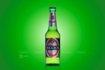 Chụp hình chai bia BECK'S
