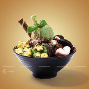 Chụp hình Bingsu bánh Oreo